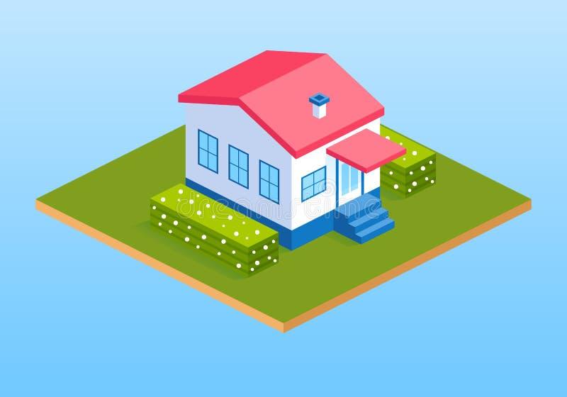 Intymny dom na wsi, chałupy z krzakami ilustracja wektor