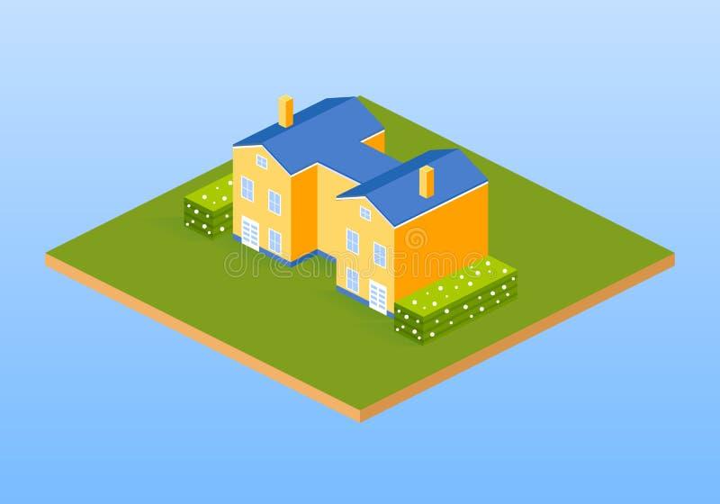 Intymny dom na wsi, chałupy z krzakami ilustracji