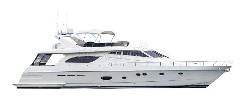 Intymny motorowy jacht, odizolowywający na bielu fotografia royalty free