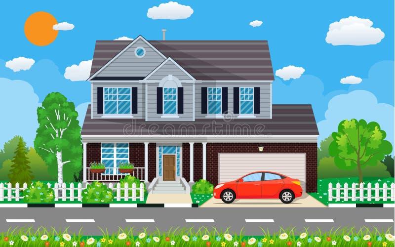 Intymny podmiejski dom z samochodem, royalty ilustracja