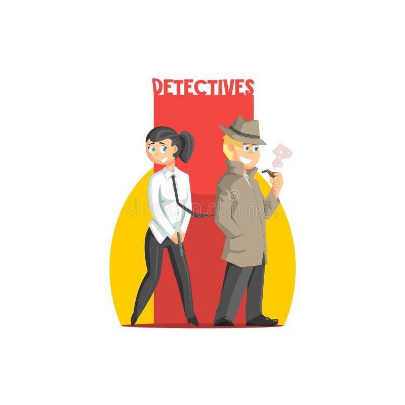 Intymnych detektywów pary sztandar ilustracja wektor