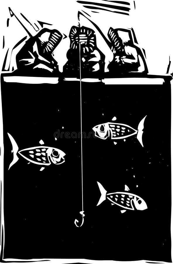 inuit льда рыболовства бесплатная иллюстрация