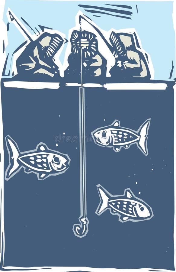 inuit льда рыболовства иллюстрация вектора