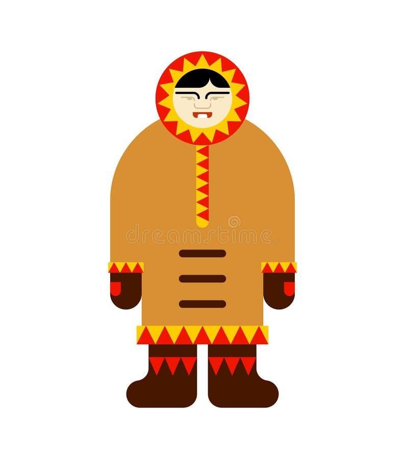 Inuit eschimese isolato uomo tradizionale artico del Nord chukchi illustrazione di stock