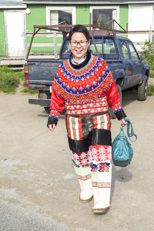 Inuit-Frau in Grönland lizenzfreie stockbilder