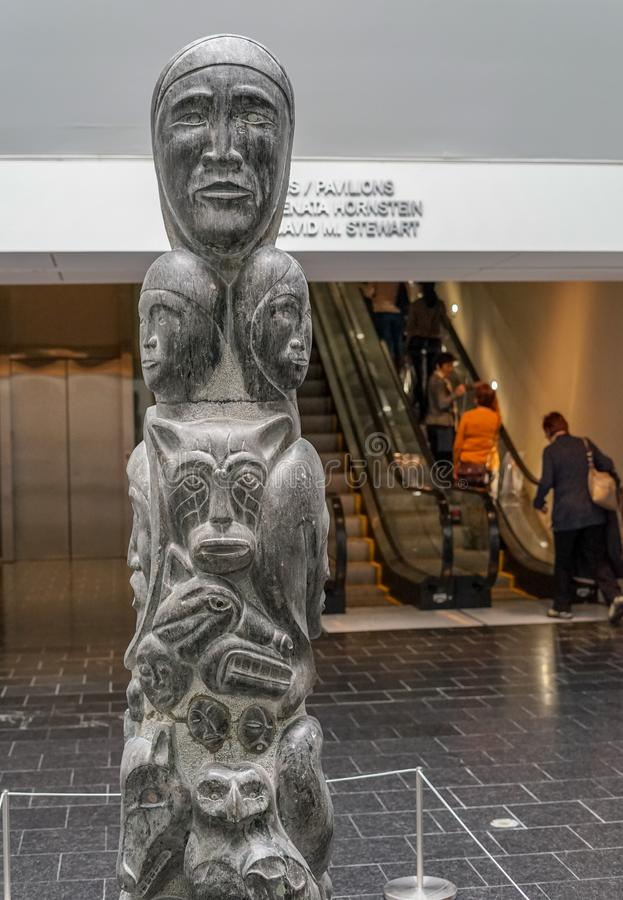 Inuit art at MBAM Museum. Inuit sculpture named Tree Life, created by Abraham Anghik Ruben in 1983 at Montreal Museum of Fine Arts stock photography