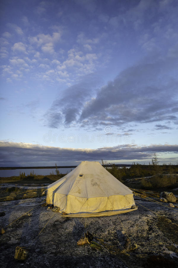Inuit tent in the tundra 2. This is a tradionnal inuit tent in the tundra of the artic: Kuujuaq, Québec, ca nada royalty free stock image