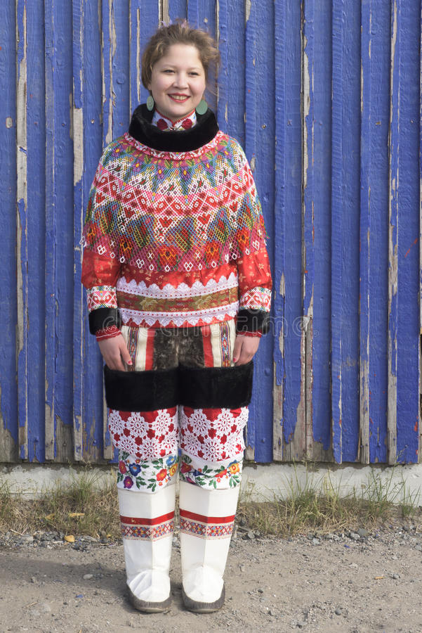 Inuit Woman in Greenland. Woman of the Inuit Tribe in Garb stock photos