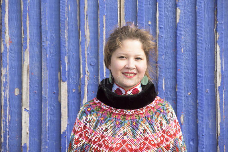 Inuit Woman in Greenland. Woman of the Inuit Tribe in Garb stock images
