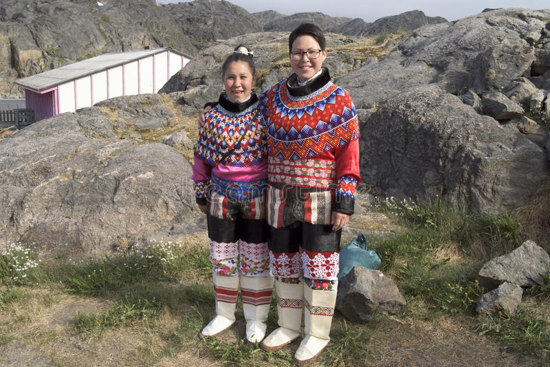 Inuit Women in Greenland. Women of the Inuit Tribe in Garb royalty free stock image
