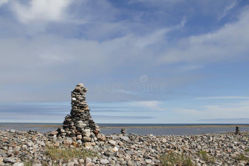 Inukshuk near Arviat. Inukshuk near Eskimo Point at Arviat royalty free stock image