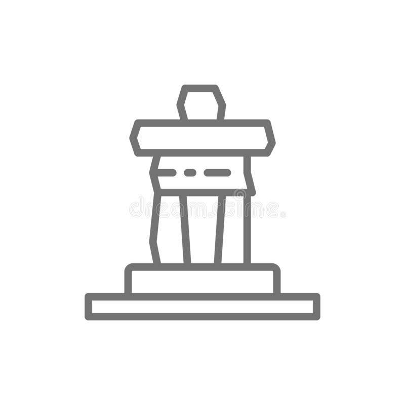 Inukshuk rock statue of Whistler mountain, Canada line icon. royalty free illustration