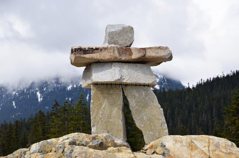 Inukshuk, stationnement olympique de siffleur, Canada image libre de droits