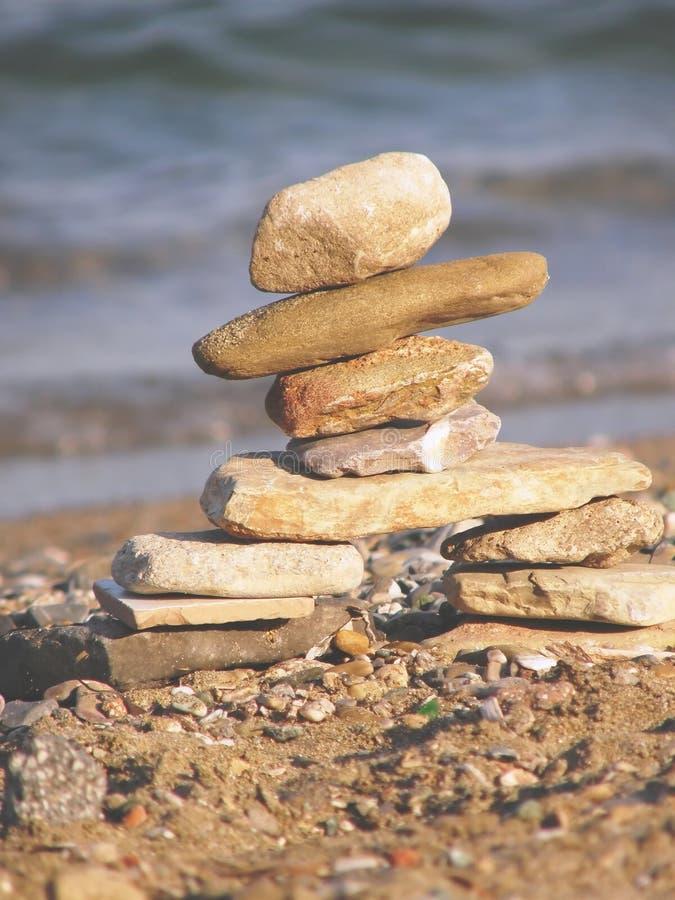 Inukshuk stone sculpture stock photo