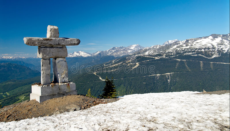 Inukshuk at Whistler Mountain. An Inukshuk at the Roundhouse at Whistler, Canada. These stone landmarks or cairn are used by the Inuit, Inupiat, Kalaallit, Yupik royalty free stock photos