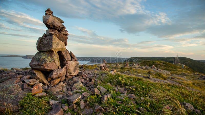Inuksuk (Inukshuk) on Signal Hill, St. John's, Newfoundland royalty free stock image