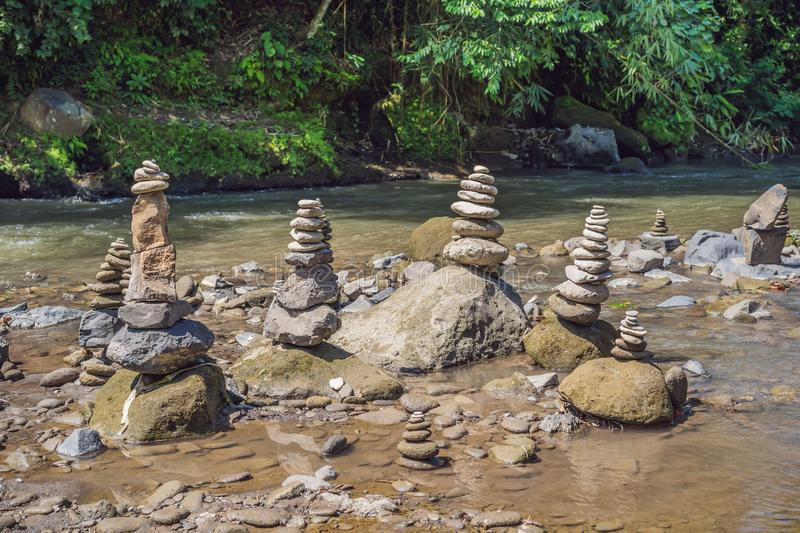 Inuksuk Native Rock Pile in a Creek.  royalty free stock photography