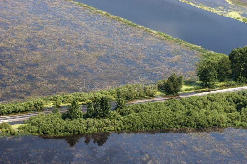Inundação, bancos do excesso do rio e inundação imagens de stock royalty free