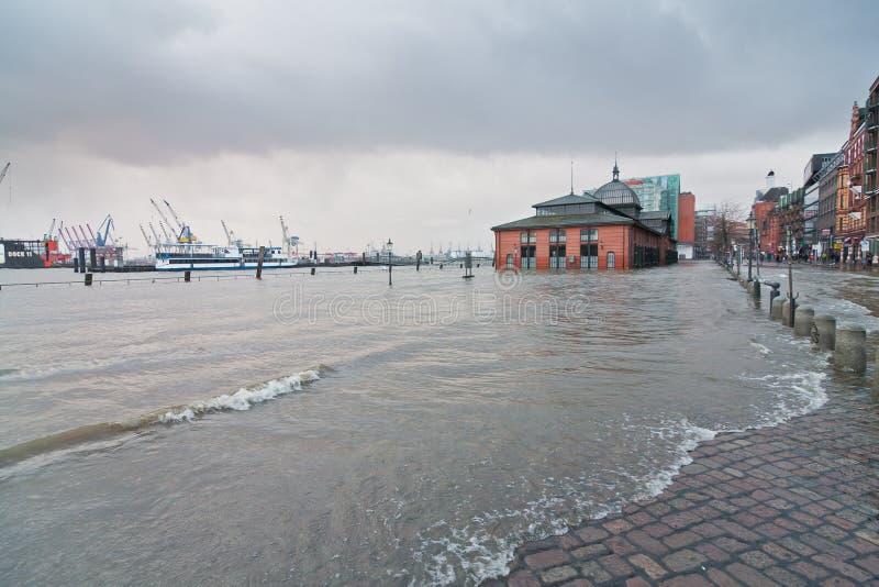 Inundação causada pela tempestade Xaver  fotografia de stock
