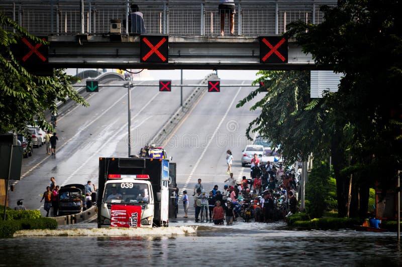 Inundação da água de Tailândia imagem de stock