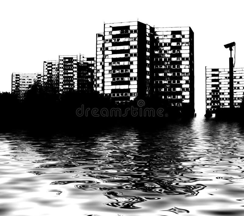 Inundação da skyline ilustração do vetor
