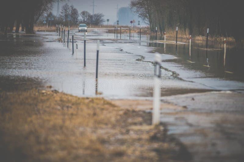 Inundação de Rusne na mola, Lituânia fotos de stock royalty free