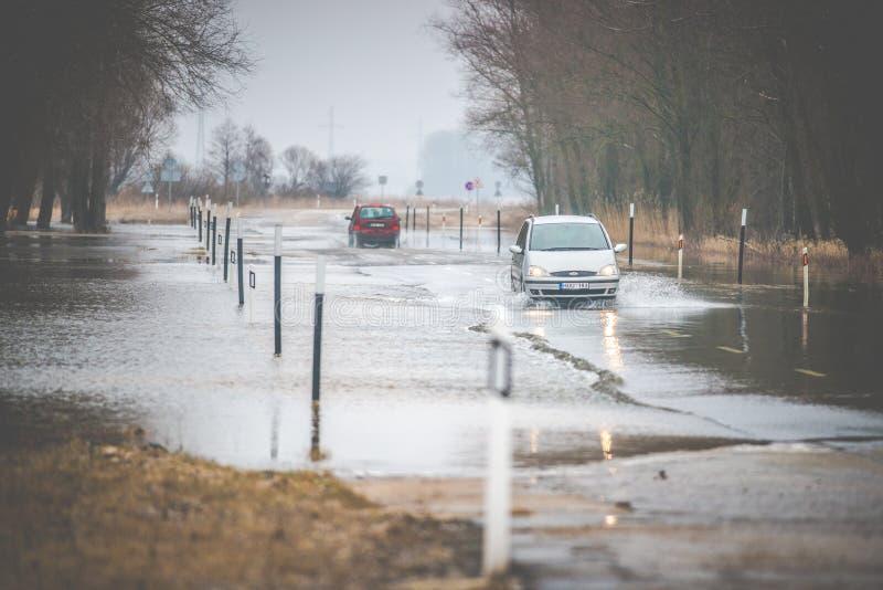 Inundação de Rusne na mola, Lituânia imagem de stock royalty free