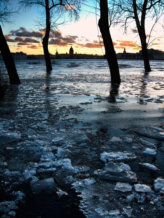 Inundação de St Petersburg no crepúsculo imagem de stock royalty free