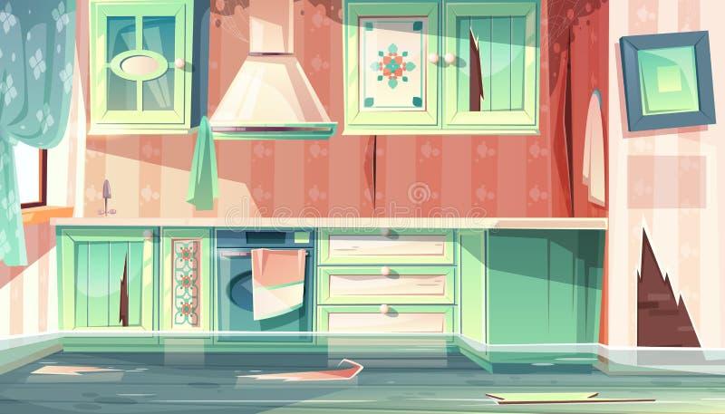 Inundação do vetor na cozinha suja, sala de provence ilustração stock