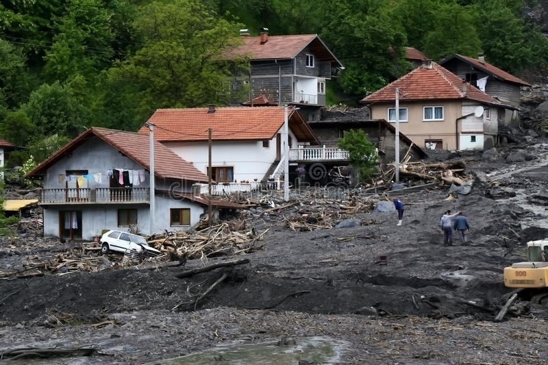 Inundação em Bósnia fotos de stock