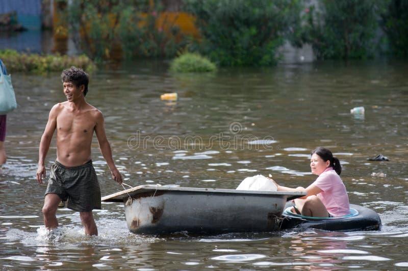 Inundação em Banguecoque, outubro 2011 da monção imagem de stock royalty free