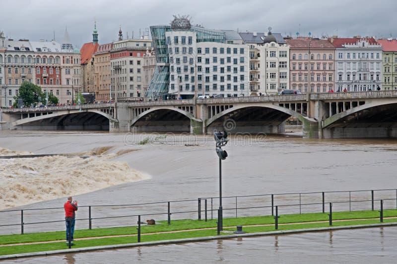 Inundação em Praga imagens de stock