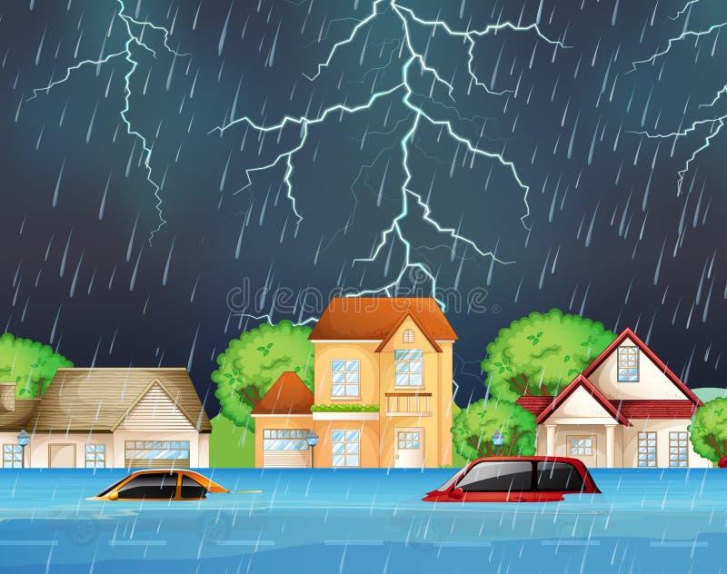 Inundação extrema em ruas suburbanas ilustração do vetor