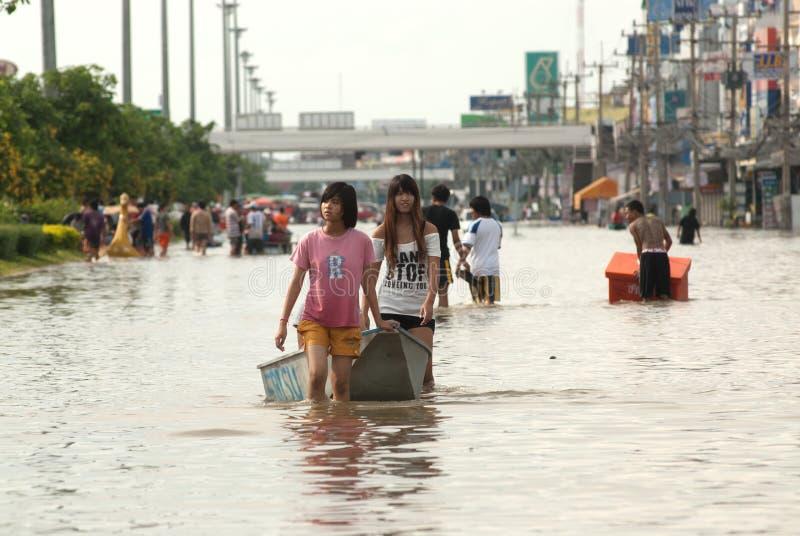 Inundação mega em Tailândia 2011. fotos de stock