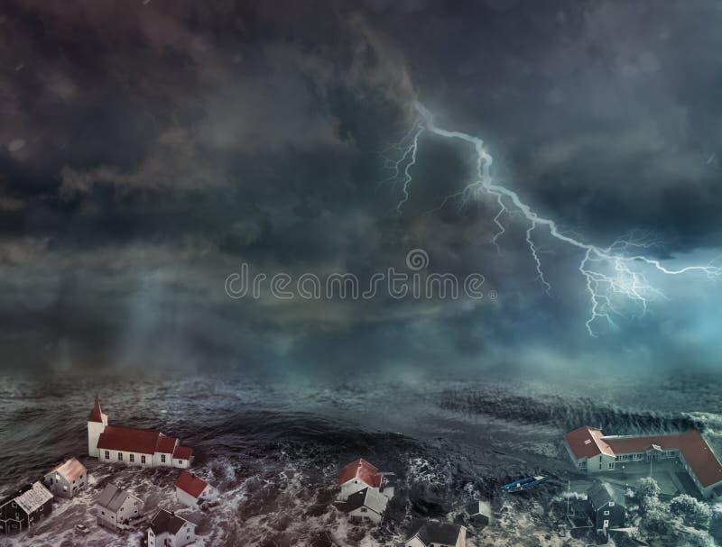 Inundação na cidade imagens de stock royalty free