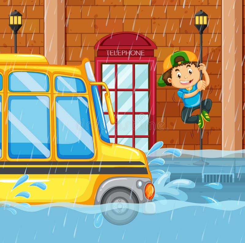 Inundação na cidade grande ilustração royalty free