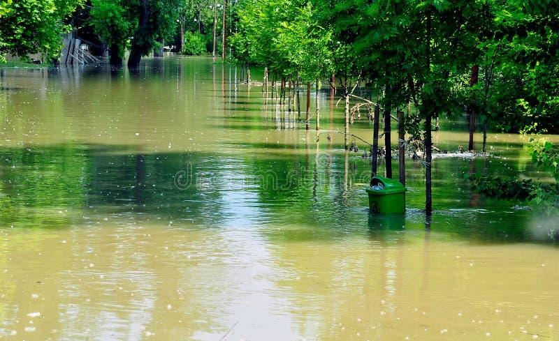 Inundação no rio Danúbio foto de stock