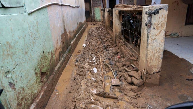 Inundações em Flash em Banten, Indonésia foto de stock