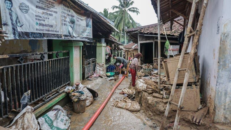 Inundações em Flash em Banten, Indonésia fotos de stock