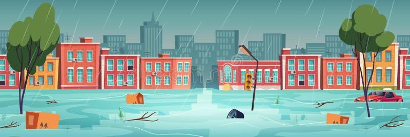 Inundación en la ciudad, río, río arrollado en la calle de la ciudad libre illustration