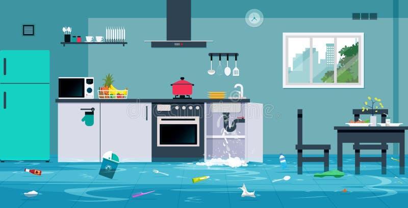 Inundación en la cocina stock de ilustración