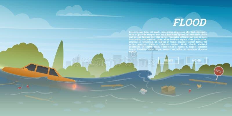 Inundación o desastre natural en concepto de la ciudad Basura y coche flotantes durante diluvio en apogeo, desbordamiento y ondas stock de ilustración