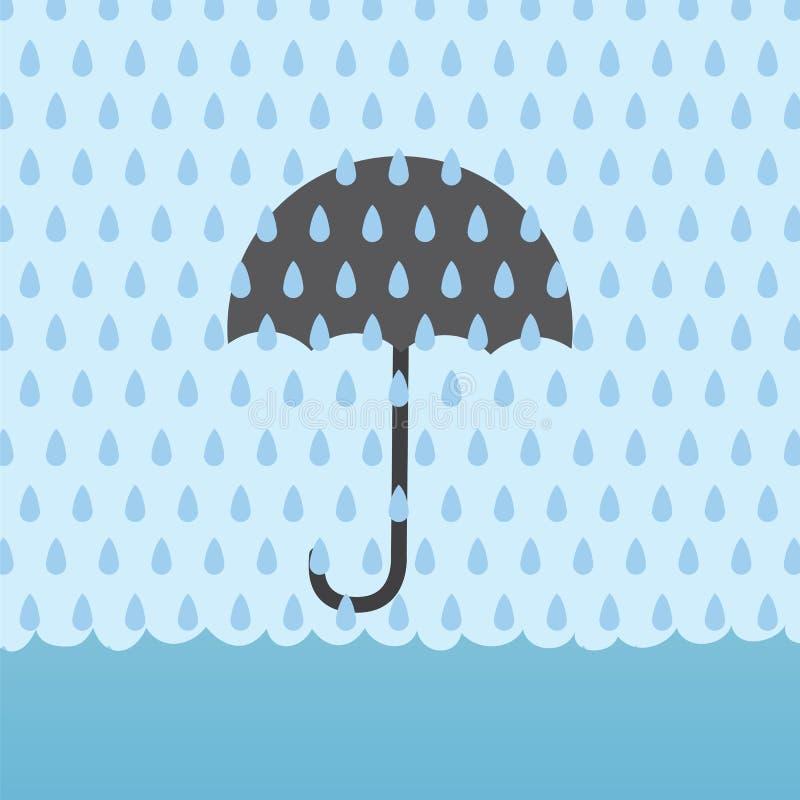 Inundación Umbrellav de la lluvia ilustración del vector