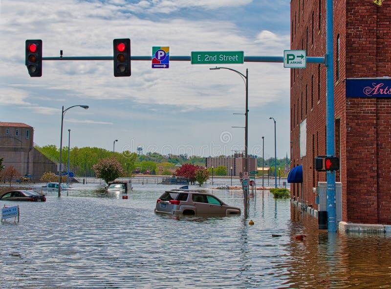 Inundaci?n 2019 de Davenport Iowa fotos de archivo libres de regalías
