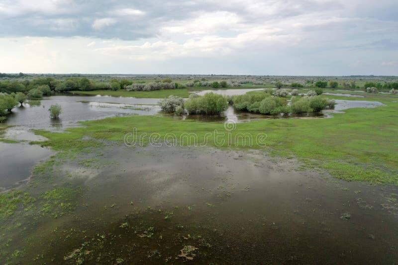 Inundando no delta de Volga, Rússia imagem de stock