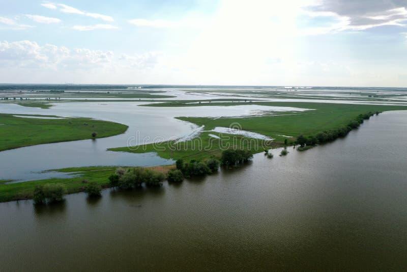 Inundando no delta de Volga, Rússia fotografia de stock royalty free