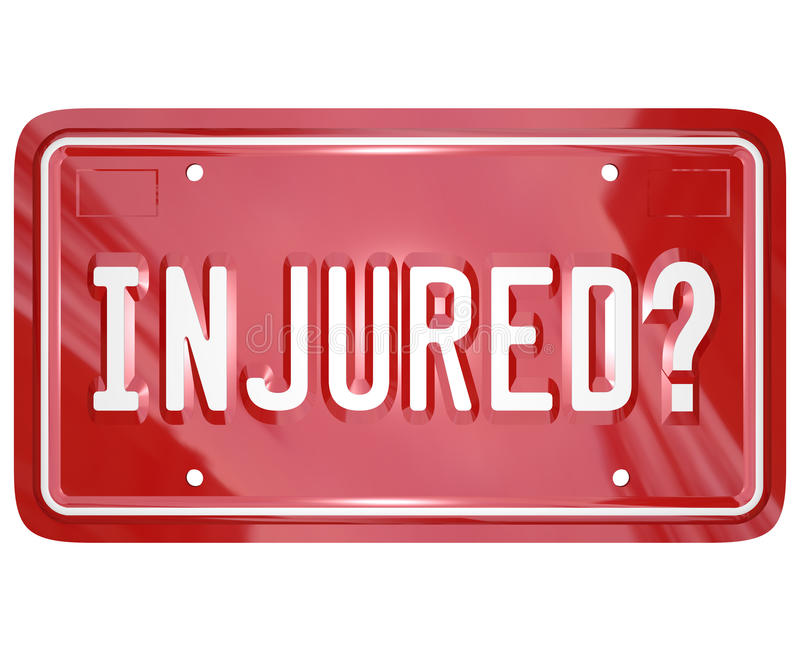 Inured License Plate Car Accident Lawyer Attorney Lawsuit. Injured question on a 3d red license plate to illustrate seeking judgment against another party in a vector illustration