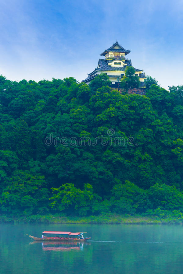 Inuyama Castle Kiso River Tourist Cruise Blue Sky royalty free stock photo