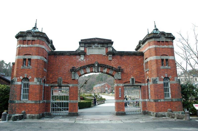 Main gate of old Kanazawa prison at Meiji Mura stock photos