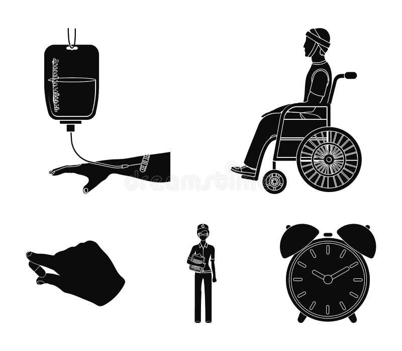 Inválido com traumatismo, transfusão de sangue, doutor, medicamentação nas mãos de um doutor Ícones da coleção de Medicineset den ilustração stock